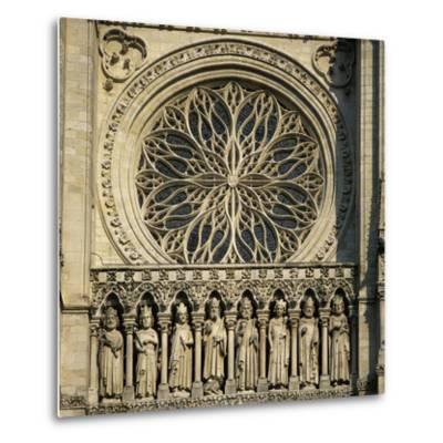 Detail of West Front, Notre Dame Cathedral, UNESCO World Heritage Site, Amiens, Picardy, France, Eu-Stuart Black-Metal Print