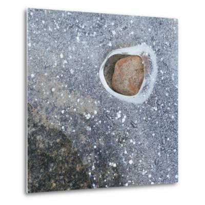 Rock in a Frozen River-Micha Pawlitzki-Metal Print