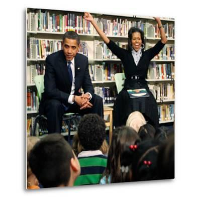 Before President Barack Obama and Wife Read to Second Graders at Capital City Public Charter School--Metal Print