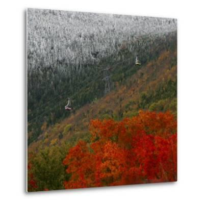 Tram Cars Take Tourists Up Cannon Mountain in New Hampshire as Snow Meets with Changing Leaves--Metal Print