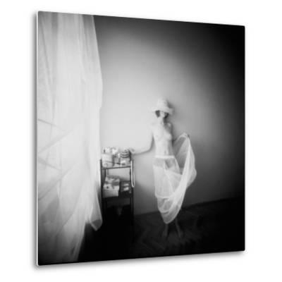 Pinhole Camera Shot of Standing Topless Woman in Hoop Skirt-Rafal Bednarz-Metal Print