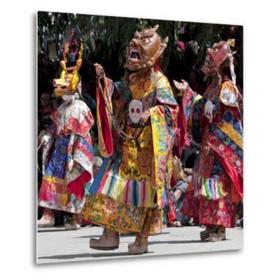 Buddhist Monks Dancing, Chemrey Monastery, Ladakh, India-Jaina Mishra-Metal Print