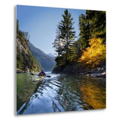 Woman Sea Kayaker on Lake Diablo, North Cascades National Park, Washington, USA-Gary Luhm-Metal Print