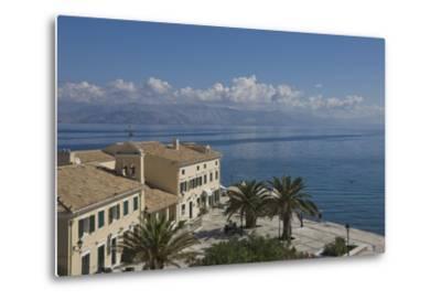 Sea View over a Sea Side Cafe from Corfu Town, Corfu Island, Ionian Islands, Greek Islands, Greece-James Emmerson-Metal Print