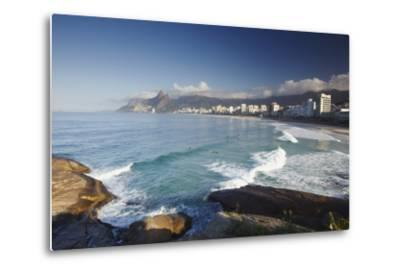 Ipanema Beach from Ponta do Aproador, Rio de Janeiro, Brazil, South America-Ian Trower-Metal Print