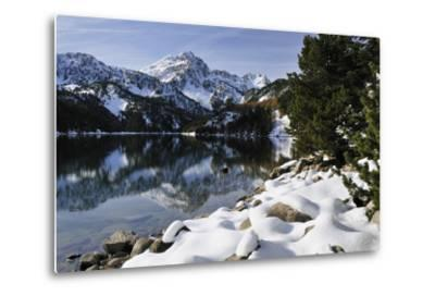 St. Maurici Lake and Snowy Peaks of Aigues Tortes Nat'l Park in Winter, Pyrenees, Catalonia, Spain-Nick Upton-Metal Print