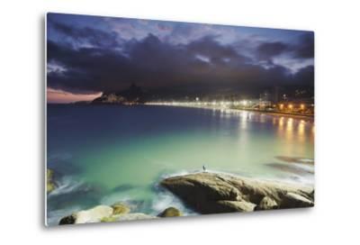 Ipanema Beach and Ponta do Aproador at Sunset, Rio de Janeiro, Brazil, South America-Ian Trower-Metal Print