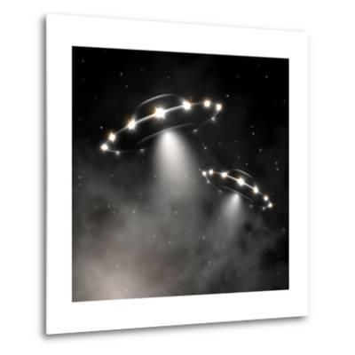 Ufo in Fog-_Lonely_-Metal Print