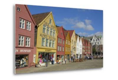 Wooden Buildings on the Waterfront, Bryggen, Vagen Harbour, UNESCO Site, Bergen, Hordaland, Norway-Gary Cook-Metal Print