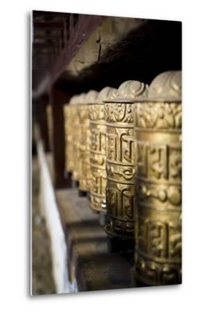 Buddhist Prayer Wheels, Namche Gompa (Monastery), Namche Bazaar, Solu Khumbu Region, Nepal-Ben Pipe-Metal Print
