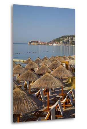 View of Budva Old Town and Beach, Budva Bay, Montenegro, Europe-Frank Fell-Metal Print