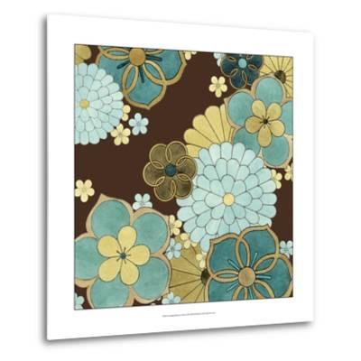 Cascading Blooms in Teal II-Erica J^ Vess-Metal Print