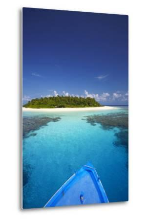 Boat Heading for Desert Island, Maldives, Indian Ocean, Asia-Sakis Papadopoulos-Metal Print