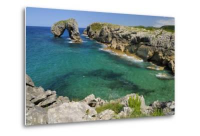 Castro de Gaviotas Karst Limestone Rock Archway and La Canalina Bay, Near Llanes, Asturias, Spain-Nick Upton-Metal Print