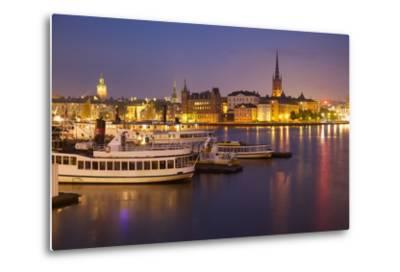City Skyline from City Hall at Dusk, Kungsholmen, Stockholm, Sweden, Scandinavia, Europe-Frank Fell-Metal Print