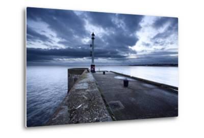 Sea Wall and Harbour Light at Bridlington, East Riding of Yorkshire, England, United Kingdom-Mark Sunderland-Metal Print