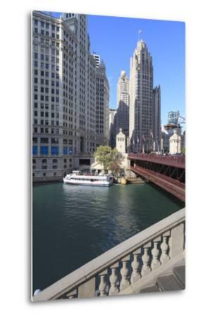 Chicago River and Dusable Bridge with Wrigley Building and Tribune Tower, Chicago, Illinois, USA-Amanda Hall-Metal Print