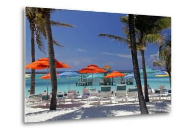 Umbrellas and Shade at Castaway Cay, Bahamas, Caribbean-Kymri Wilt-Metal Print
