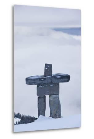 Gondola, Whistler to Blackcomb, Inuksuk First Nation Marker, British Columbia, Canada-Walter Bibikow-Metal Print