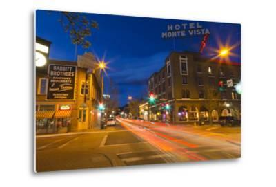 San Francisco Street at Dusk in Historic Downtown Flagstaff, Arizona, USA-Chuck Haney-Metal Print