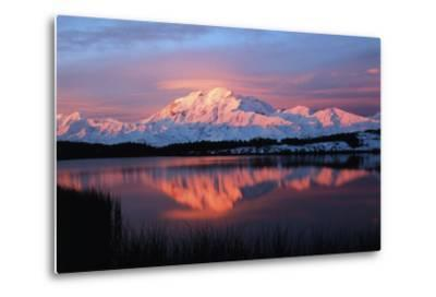 Lake with Mt McKinley, Denali National Park and Preserve, Alaska, USA-Hugh Rose-Metal Print