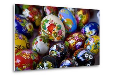 The Art of Painted Ukrainian Easter Eggs at a Flower Festival-Stephen St^ John-Metal Print