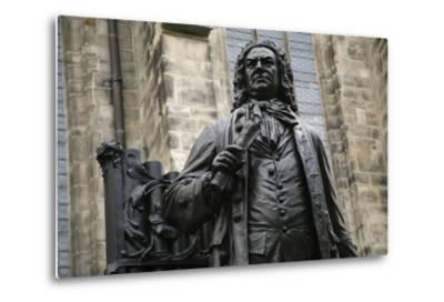 Statue of J. S. Bach, Courtyard of St. Thomas Church, Leipzig, Germany-Dave Bartruff-Metal Print