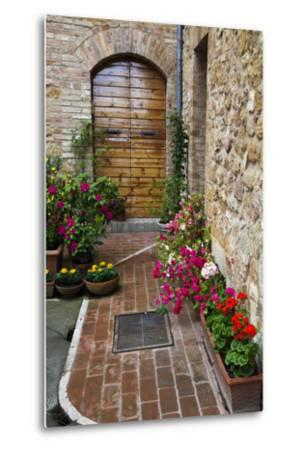 Doorway with Flowers, Pienza, Tuscany, Italy-Terry Eggers-Metal Print