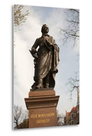 Statue of Felix Mendelssohn, St Thomas Church, Church of Bach, Leipzig, Germany-Dave Bartruff-Metal Print