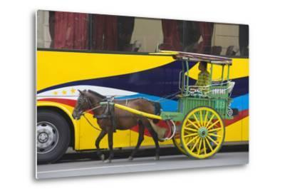 Horse Cart Walk by Colorfully Painted Bus, Manila, Philippines-Keren Su-Metal Print