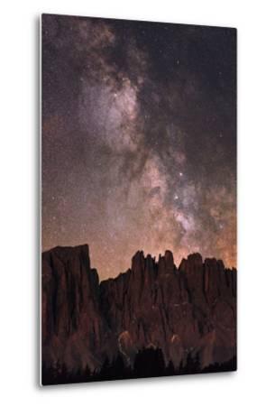 The Milky Way and Stars Above Latemar Mountain-Babak Tafreshi-Metal Print