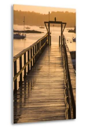 Golden Sunlight on a Pier, Boats, and Water at Sunset-Jonathan Irish-Metal Print