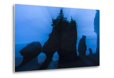 An Artistic Shot of the Hopewell Cape Rocks, Silhouetted at Dusk-Jonathan Irish-Metal Print