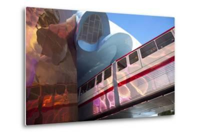 Monorail and Experience Music Project, Science Fiction Museum, Seattle, Washington, USA-John & Lisa Merrill-Metal Print