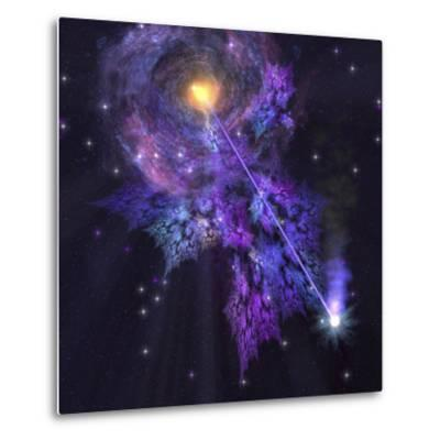 A Shooting Star Radiates Out from a Black Hole in the Center of a Galaxy-Stocktrek Images-Metal Print