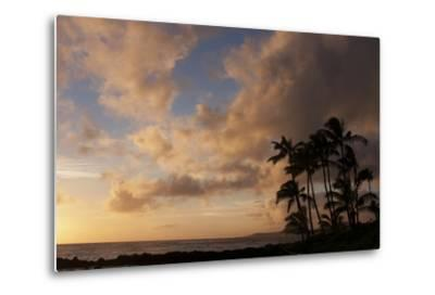 Silhouetted Palm Trees and Pinkish Clouds at Sunset on Poipu Beach-Marc Moritsch-Metal Print