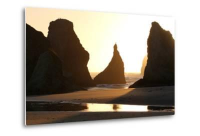 A Bird Atop the Rock Monoliths Known As Sea Stacks At Twilight-Charles Kogod-Metal Print