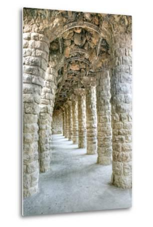 Park Guell Colonnaded Footpath, Barcelona, Spain-Rob Tilley-Metal Print