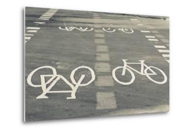Bicycle Path Road Markings, Vancouver, British Columbia, Canada-Walter Bibikow-Metal Print