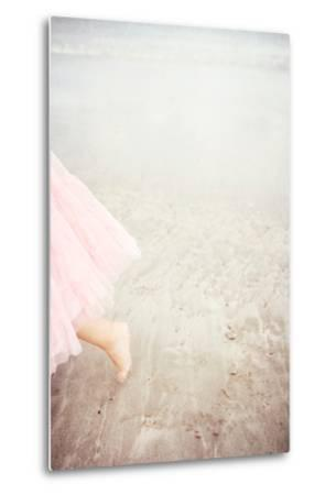 Girl in Tulle At Beach Edge 6-Susannah Tucker-Metal Print
