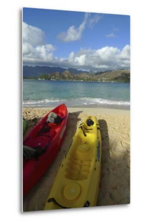 Kayak, Mokulua Island, Lanikai, Kailua, Oahu, Hawaii, USA-Douglas Peebles-Metal Print