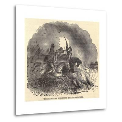 Texas Rangers Pursuing Comanches in 1850s--Metal Print