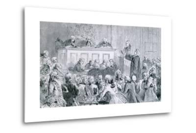 Peter Zenger, in the Dock (At Right), During His Trial for Seditious Libel, 1835--Metal Print