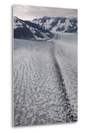 Moraine Lines at the Joining of Hubbard and Valerie Glacier-Matthias Breiter-Metal Print