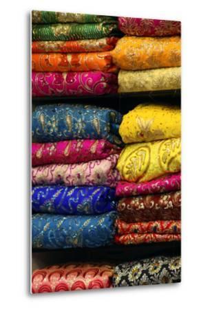 Colorful Sari Shop in Old Delhi Market, Delhi, India-Kymri Wilt-Metal Print
