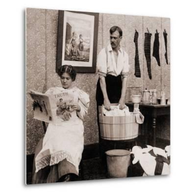 Satire of Feminism Showing an Extreme Role Reversal in a 1900's American Home--Metal Print