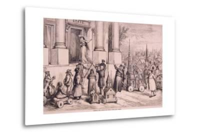 Thomas Nast Cartoon, Shows Priests Threatening the Doorway of the 'State'--Metal Print