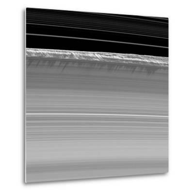 Towering Walls of Ice Rubble Cast Long Shadows on the Outer Edge of Saturn's B Ring--Metal Print