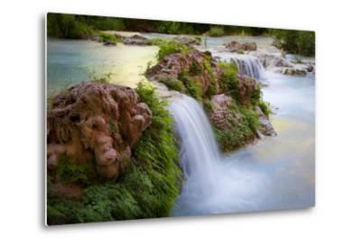 Havasu Creek Rushes Over Falls in Havasu Canyon-Derek Von Briesen-Metal Print