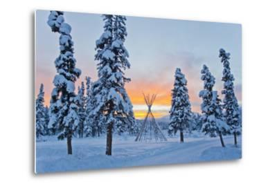 Orange Sky at Sunset Over Snow-covered Evergreens and a Tee Pee Form-Mike Theiss-Metal Print